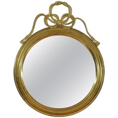 French Brass Circular Mirror in the Louis Philippe Style, Mid-20th Century