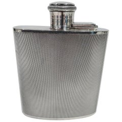 English Art Deco Modern Sterling Silver Mini Hip Flask
