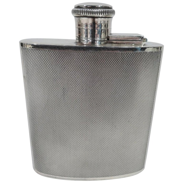 English Art Deco Modern Sterling Silver Mini Hip Flask For Sale