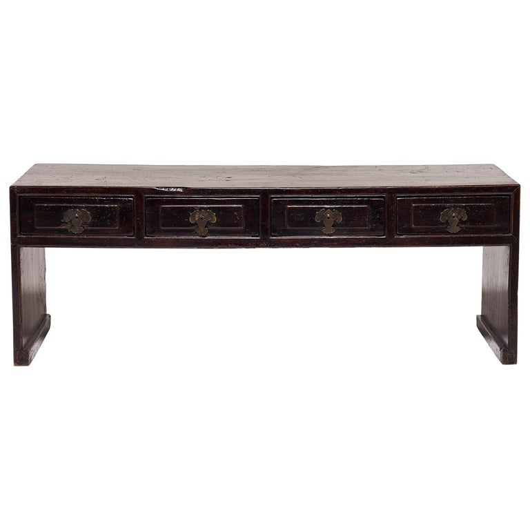 Early 20th Century Chinese Four-Drawer Low Ribbon Table