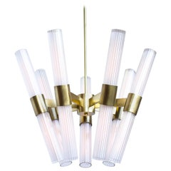 Dixie 14-Light Chandelier with Burnished Brass Finish and Fluted Glass