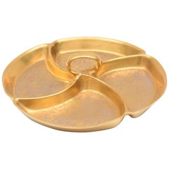 Gilded Serving Center Piece, 24-Karat Gold Etched
