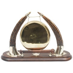 Antique Dinner Gong, Horn, Mahogany and Brass, Anglo English