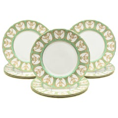 """12 Royal Doulton """"Sevres"""" Green and Gilt Encrusted Dinner Plates. Antique China"""
