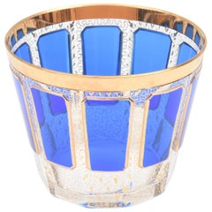 Antique Crystal Ice Bucket, Moser or Moser Style Cobalt Panel Glass and Gold