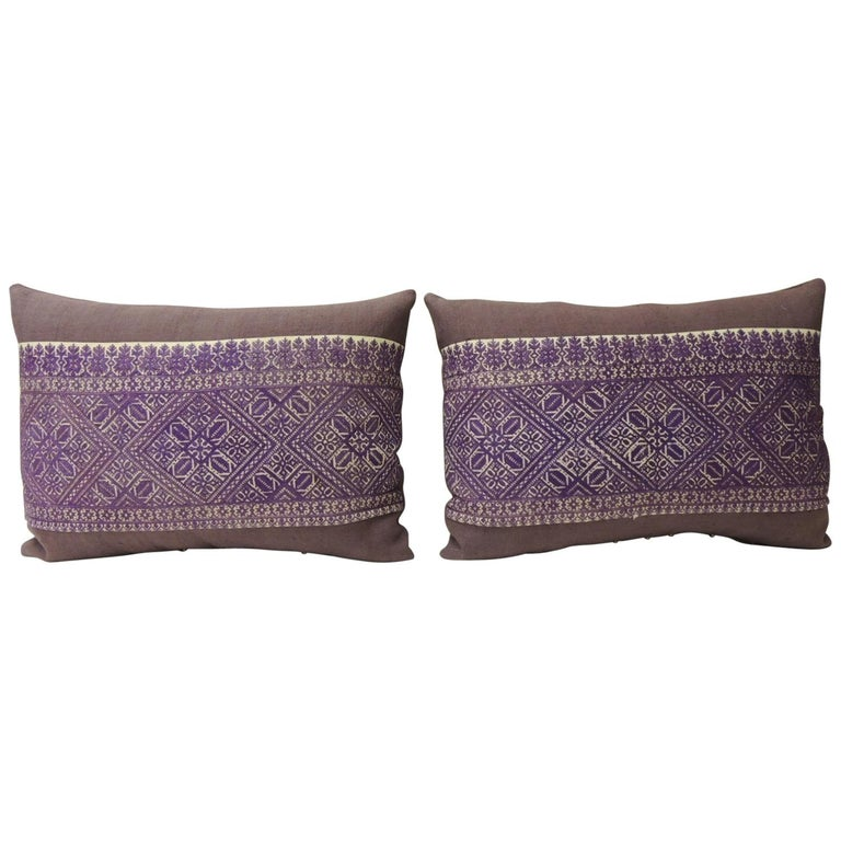 Pair of 19th Century Purple Embroidered Fez Decorative Bolster Pillows