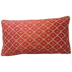 19th Century Red and Yellow Embroidery Moroccan Silk Decorative Pillow