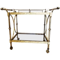 Hollywood Regency Two-Tier Serving Cart in a Faux Marbleized Design