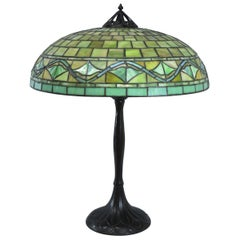 Large Scale Arts & Crafts Handel Leaded Glass Lamp with Shade