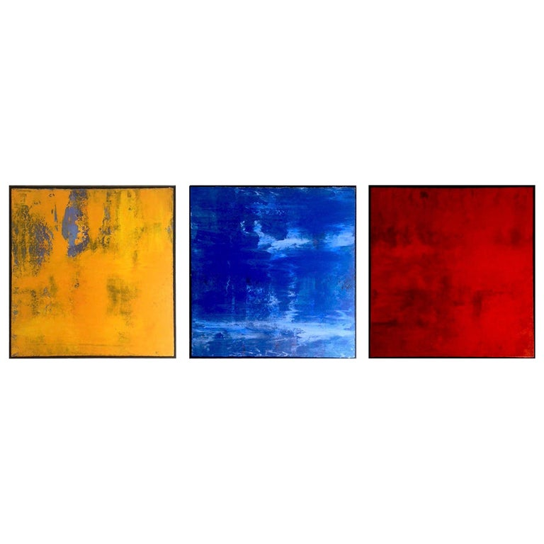 Abstraction #6, #7 and #1, Acrylic Painting Triptych, Framed in Black Iron