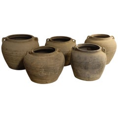 Collection Weathered Taupe Pots, China, 1940s