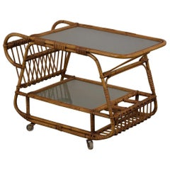 Two-Tier Rattan Bar Cart