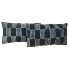 Pair of Vintage Indigo and Blue African Woven Pattern Decorative Lumbar Pillows