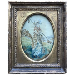 First Quarter of the 19th Century Oval Antique Framed Silk Embroidery