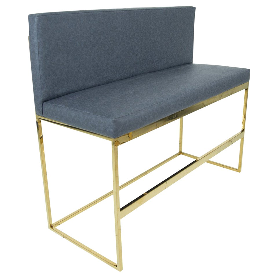 Modern Style 007 Bar Height Bench in Faux Leather with Polished Brass Frames