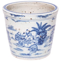 """Children in the Garden"" Early 20th Century Chinese Blue and White Scroll Pot"