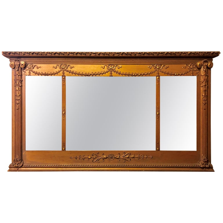 Antique Louis XVI Style Carved Gilt Wood over the Mantel or Console Mirror