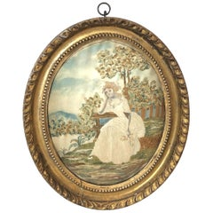 Oval Antique Framed Silk Embroidery of Sitting Woman