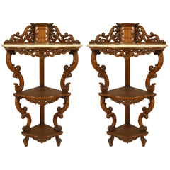Pair of American Victorian Rosewood Three-Tier Corner Hanging Etagere Cabinets