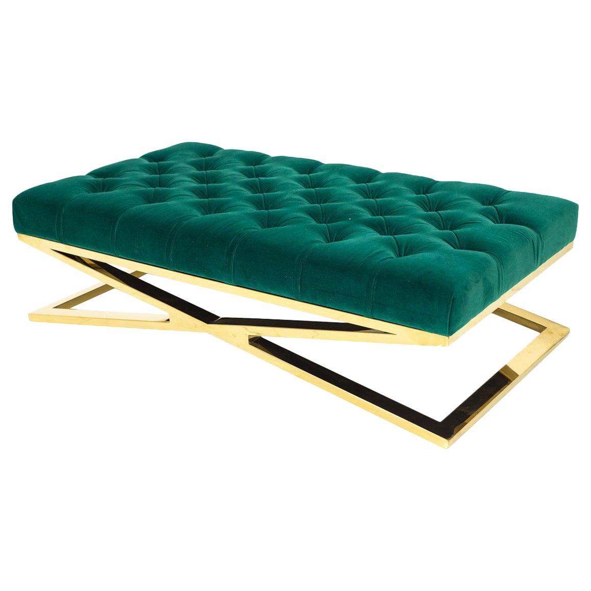 Modern Style Velvet Tufted Ottoman Bench with Polished Brass X-Base Frames