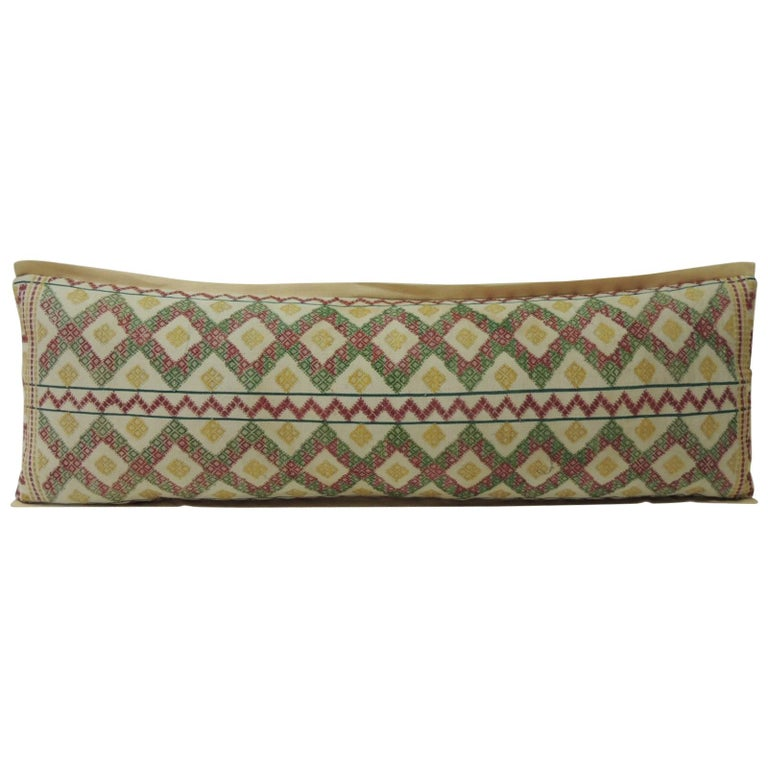 Vintage Woven and Embroidered Colorful Asian Textile Bolster Decorative Pillow