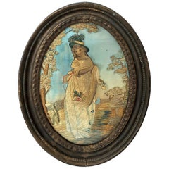 Oval Antique Framed Silk Embroidery of Woman in Teal Hat