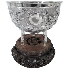 Antique Chinese Silver Dragon and Bamboo Bowl on Rosewood Base