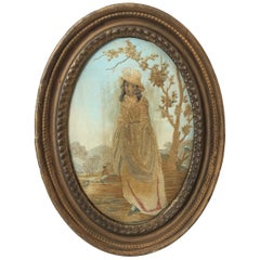 Oval Antique Framed Silk Embroidery of Woman in White Hat, 19th Century