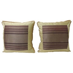 Pair of Vintage Silk Burgundy and Gold Woven Textile Square Decorative Pillows