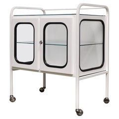 Vintage Medical Trolley in Iron and Glass, 1970s