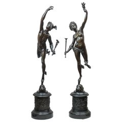 Pair of Bronze Figures, Mercury and Fortuna, Grand Tour