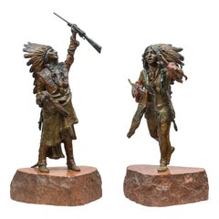 Pair of Austrian Cold Painted Bronze Indians by Carl Kauba, circa 1910