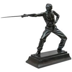 Bronze Figure of a Fencer, Artist Signed, German, Art Deco Period