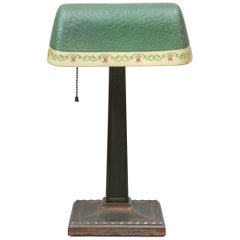 Antique Banker's Lamp with Original Glass Shade, Dated 1917