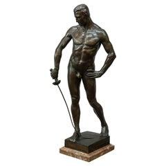 German Bronze Figure of a Nude Male Swordsman, circa 1901