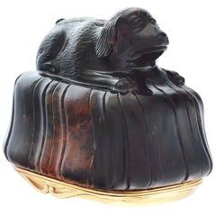 English Gold Mounted Carved Hardstone Dog Form Snuff Box