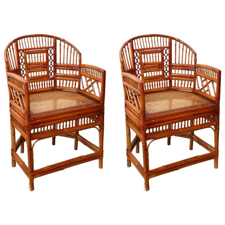 Beautiful Pair of Vintage Bamboo Chippendale Armchairs