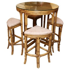 Superb Vintage Bamboo High Top Table with Four Stools