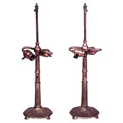 Pair of American Victorian Bronze Doré Table Lamps