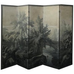 20th Century Grisaille Five-Panel Tropical Paper Screen