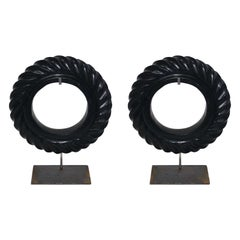 Pair of Black Stone Rope Twist Disc Sculptures, China, Contemporary