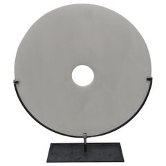 Extra Large White Stone Disc Sculpture, China, Contemporary