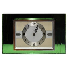1930s Art Deco Green Mirror and Chrome Clock with 8 Day Movement