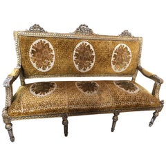 Meant for a Queen Giltwood and Cut Velvet Large French Sofa Settee
