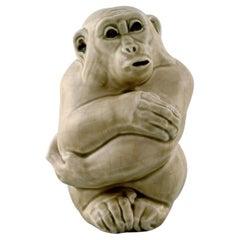 Rare Knud Kyhn for Aluminia/Royal Copenhagen, Stoneware Figure, Monkey