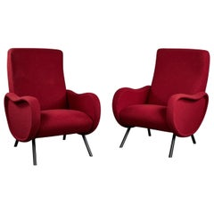 """Pair of Sculptural Italian Armchairs in the Manner of Marco Zanuso's """"Lady"""""""