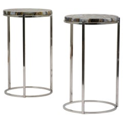 Pair of Modern Chrome Agate Side Tables