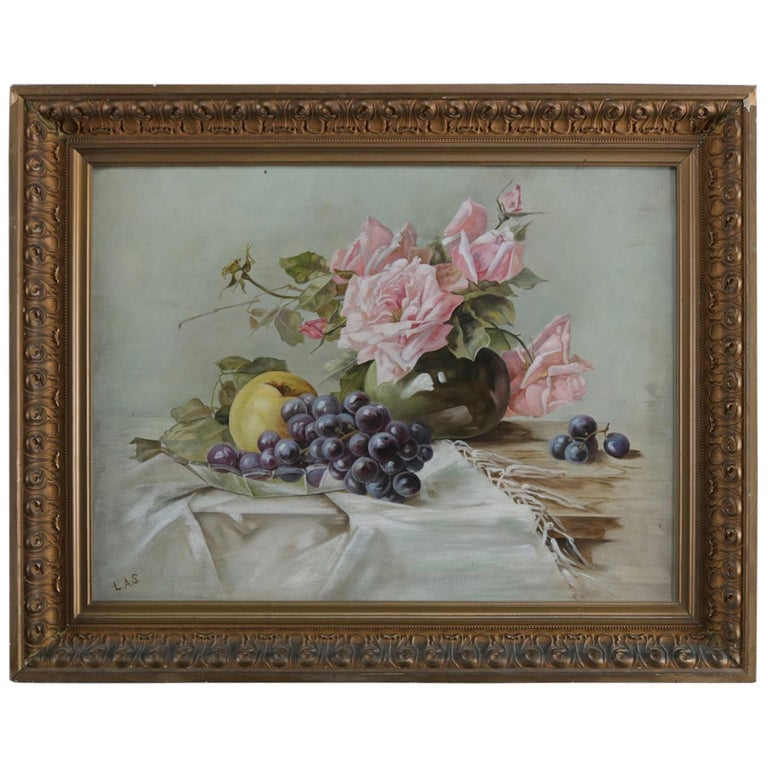 Antique Oil on Canvas Floral Rose & Fruit Still Life Painting Signed, circa 1890