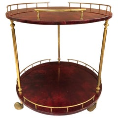 Aldo Tura Goatskin Bar or Serving Cart