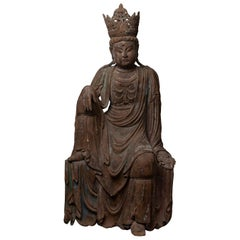 Ming Dynasty Chinese Carved Wooden Figure of a Bodhisattva Guan Yin